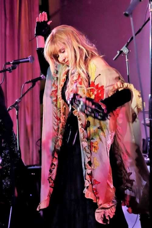 Lisa with tambourine at The Historic Hemet Theatre August 2019
